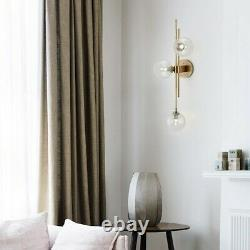 Mid-Century Modern Gold 3-Light Globe Wall Sconce Clear Glass Bedroom Decor Lamp