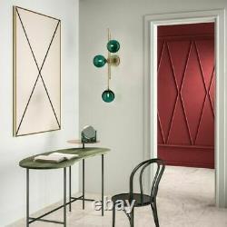 Mid-Century Modern LED Wall Sconce Green Glass Shade Hallway Wall Lamp 3-Light