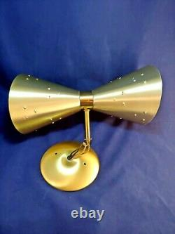 Mid Century Modern Stainless Steel Double Cone Wall Sconce / Lamp Vintage