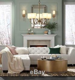 Mid Century Modern Wall Light Sconce Brass 21 Fixture Linen Shade for Bedroom