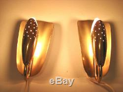 Mid Century Pair Wall Appliques Leaf-shaped Brass Wall Sconces wall lamps 50s