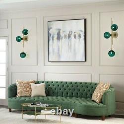 Modern 3-Light Green Glass Globe Wall Sconce Indoor Decor LED Wall Light Bedroom