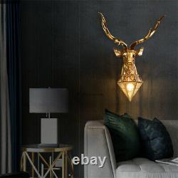 Modern Bedside Lamp TV Wall Resin Animal Deer Head Wall Sconce Magnetic Light