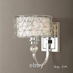 Modern French Crystal Detail Nickel Metal Finish Wall Sconce Fabric Shade