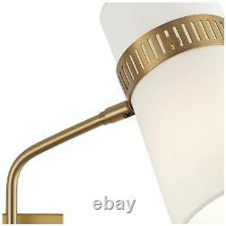 Modern Swing Arm Wall Lamp Antique Brass Plug-In Fixture Cylinder Shade Bedroom