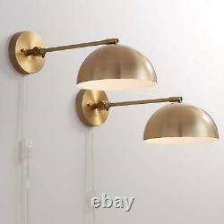 Modern Wall Lamps Set of 2 Antique Brass Plug-In Fixture Adjustable for Bedroom