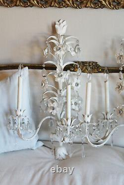 Monumental Italian Tole Pair Flower & Crystals Wall Sconces Shabby Chic Gorgeous