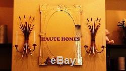 NEW HORCHOW FRENCH 26.5H WHEAT GOLD IRON Candle Holder Wall Sconce SET/2