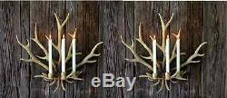 NEW LARGE 22H ANTLER RUSTIC LODGE GOLD HORN 3 Candle Holder Wall Sconce SET/ 2