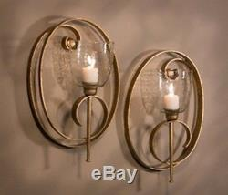 NEW MODERN LARGE 19 SCROLL HAND FORGE GOLD IRON Candle Holder Wall Sconce SET/2
