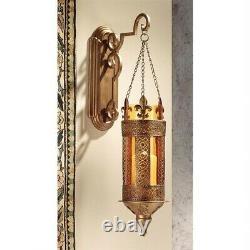 NEW Set of 2 28 Ornate Medieval Hanging Fleur de Lis Castle Wall Sconce's