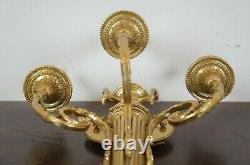 Neoclassical Hollywood Regency 3 Light Gold Candelabra Torchiere Wall Sconce 20