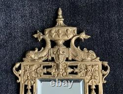 Neoclassical Style Wall Mirror / Candle Wall Sconce Antique Gilt Metal Fish