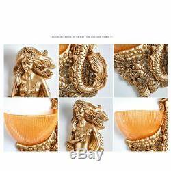 New LED Retro Mermaid Wall Light Fixture Sconce Creative Indoor Resin Wall Lamps