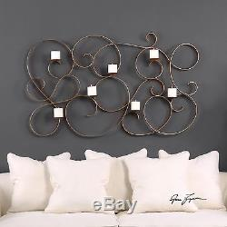New Large 58 Hand Forged Aged Gold Metal Wall Art Sconce Seven Candle Holder