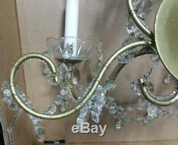 Old Vintage BEADED on the ARMS WALL SCONCES 2 Lights Dripping Crystals 18 tall