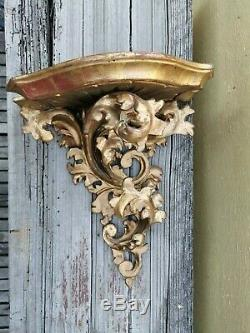 Old Vtg Florentine Rococo Wall Shelf / Sconce Gold Gilt Wood 11 1/4 Tall Mexico