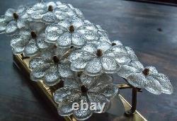 Original Ernst Palme Plawa Floral Wall Light Sconce 11 Murano Glass Flowers 1960