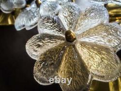 Original Ernst Palme Plawa Floral Wall Light Sconce 13 Murano Glass Flowers 1960