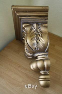 Ornate Antique Gold Gilt Wall Sconce Italian Hollywood Florentine Leaf Shelf