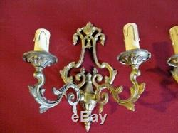 Ornate Vintage French Wall Lights, Double Arm Sconce, Ormolu Brass, Rococo style