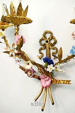 Ornate Vintage Italian Tole Brass Wall Sconces Candelabras Porcelain Flowers