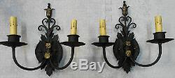Pair 1920s Style Black & Gold Wrought Iron Spanish Revival Home Wall Sconce Lamp