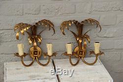 PAIR 1970 Palm tree metal gold gilt sconces wall lights attr Hans Kogl