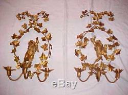 PAIR 26 Florentine ITALIAN TOLE 3 Light CHERUB PUTTI Candle WALL SCONCES
