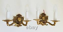 PAIR 9x5.5 2-Light Antique Wall Sconce Bronze Louis Chandelier Spanish French
