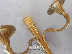 PAIR ANTIQUE French SOLID BRONZE WALL Light SCONCES
