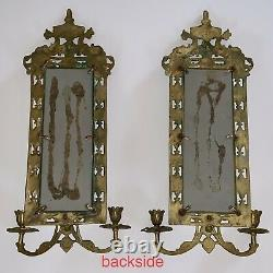 PAIR ANTIQUE MIRROR & BRASS CANDLE HOLDER WALL SCONES GILT DOLPHINS 23x8