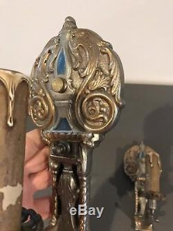 PAIR Antique Brass Metal Art Deco Nouveau Wall Sconce Gothic Light Fixture