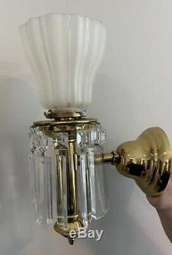 PAIR Antique Colonial 1910 Brass Crystal Wall Sconce Vintage Lighting Lustre