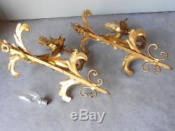 PAIR Antique FRENCH gilded Tole Wall LIGHT SCONCES Fixtures