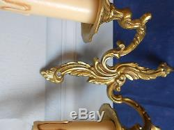 PAIR Antique French solid brass WALL Light SCONCES