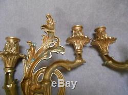 PAIR Antique French solid bronze WALL candle SCONCES