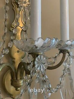 PAIR Antique Sterling Bronze New York Crystal 3 Arm French Wall Sconces 22