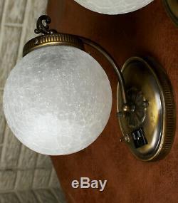 PAIR Antique VIntage Bath Room Wall Lamps Lights Sconces Crackle Glass Globes