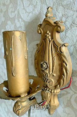 PAIR Beautiful Antique 1940's Vintage Gilt Cast Metal Wall Sconce Light Lamp