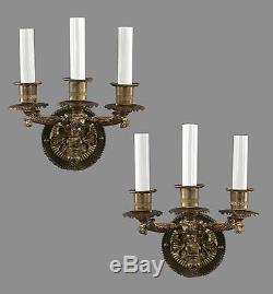 PAIR Bronze Italian Wall Sconces 1950 Vintage Antique Ornate French Styled Brass