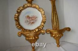 PAIR CARVED GOLD GILT WALL SHELF SCONCES w WELL FOR PLATE SMALL PAINTING 25T