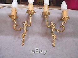 PAIR French ANTIQUE bronze WALL Light SCONCES fixtures