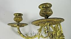 PAIR French Antique Victorian E. MULLER Gilt Bronze Wall Piano Candle Sconce