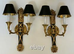 PAIR Gilt Brass French Empire Bouillotte Wall Sconce Sconces Lamp Bird Motif