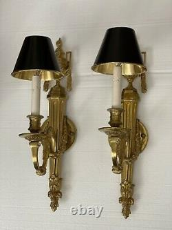 PAIR Gilt Brass French Empire Bouillotte Wall Sconce Sconces Torch Neoclassical