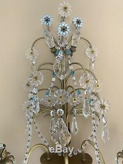 PAIR Italian Brass Crystal French Beaded Chandelier Wall Sconces Candelabras