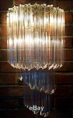 PAIR MURANO VENINI Crystal Glass Spiral Wall Sconce Chandelier TRIANGLE Drops