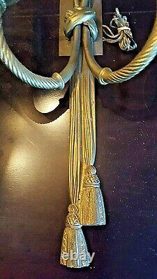 PAIR OF BEAUTIFUL ROPE WithTASSEL DORE BRONZE/BRASS DOUBLE WALL LIGHT SCONCES