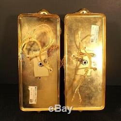 PAIR PERIS ANDREU Mid Century Hollywood Regency Gold Crystal Wall Light Sconces